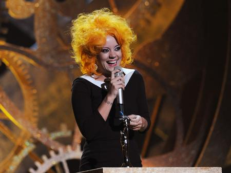 Lily Allen in a ginger wig