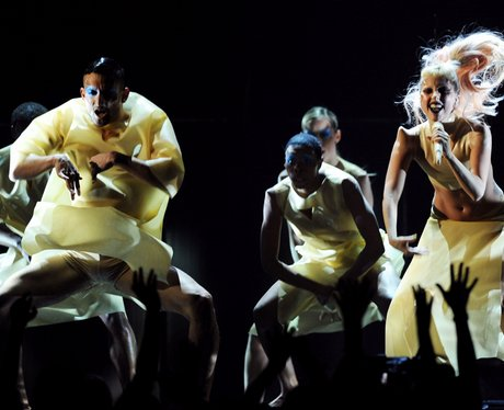 Lady Gaga performs onstage at this years Grammy Aw