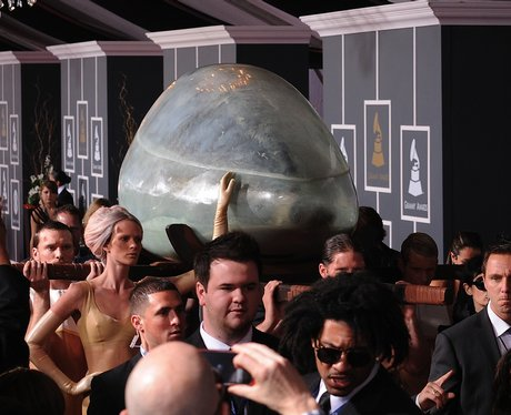 Lady Gaga arriving at the Grammys in an egg