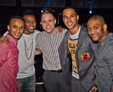 JLS and Olly Murs hanging out together