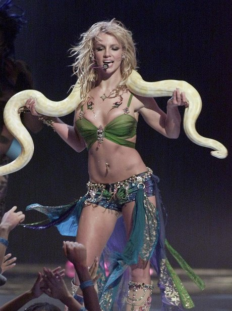 Britney Spears on stage with a snake