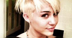 Miley Cyrus blond shaved hair