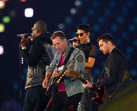 Rihanna and Jay-Z on stage with Coldplay