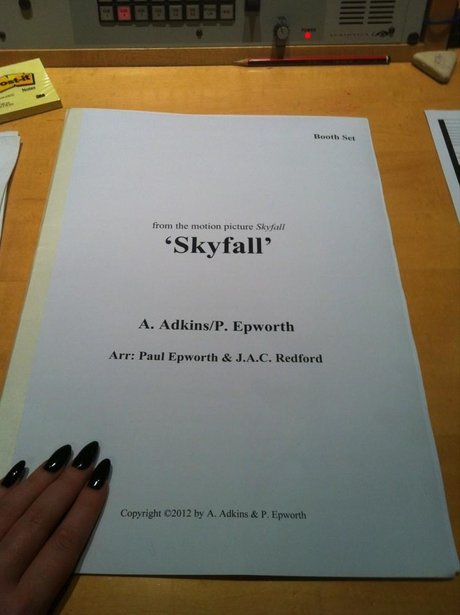 Adele's contract for recording the Skyfall theme tune.