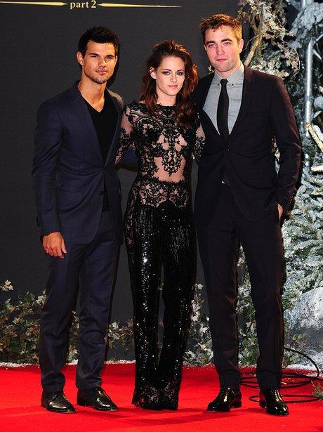 Taylor Lautner, Kristen Stewart and Robert Pattinson at the Twilight premiere