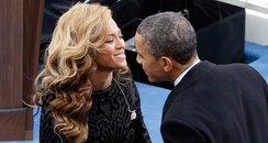 Barack Obama greets singer Beyonce