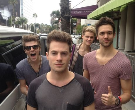 Lawson outside their hotel in America