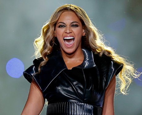Beyoncé smiles at halftime of the Super Bowl 2013