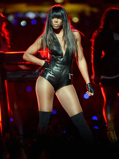Kelly Rowland performs on stage at US Super Bowl 2013