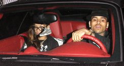 Rihanna and Chris Brown leave a recording studio t