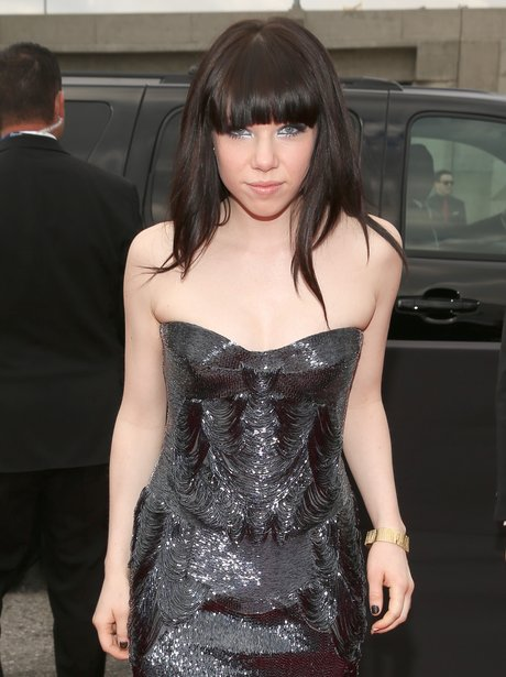 Carly Rae Jepsen wearing a strapless dress