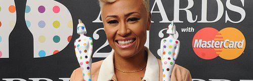 Emelie Sande, showing her two awards at the BRIT Awards 2013
