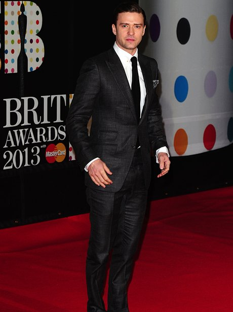 Justin Timberlake arriving for the 2013 Brit Award