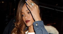 Rihanna wearing jeans from her River Island collec