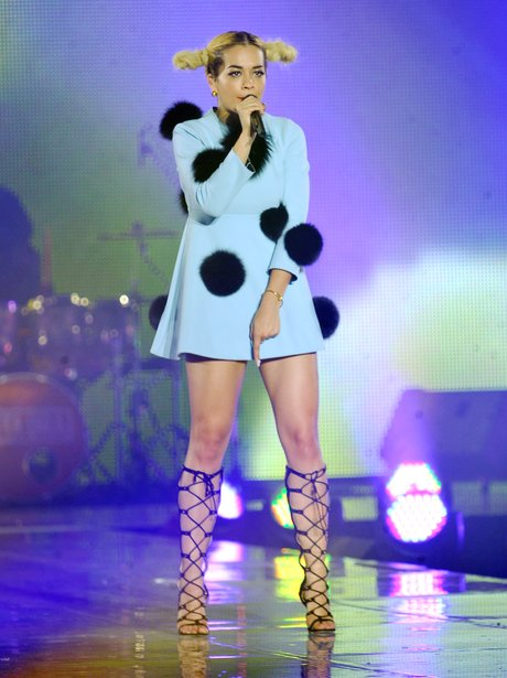 Rita Ora wearing a pom pom dress