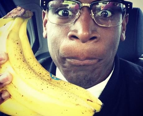 Labrinth holding bananas