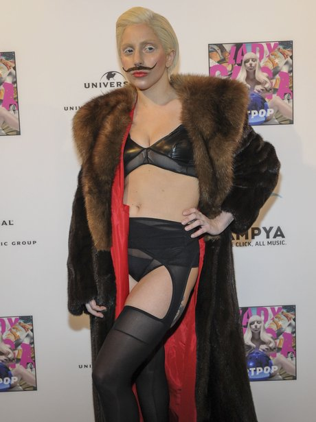 Lady Gaga wearing a moustache
