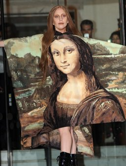 Lady Gaga wearing a dress with Mona Lisa print on