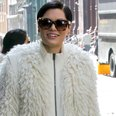 Jessie J wearing a white coat in New York