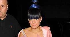 Lily Allen at her afterpaty wearing a crop top
