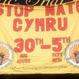 Banner protesting against NATO conference