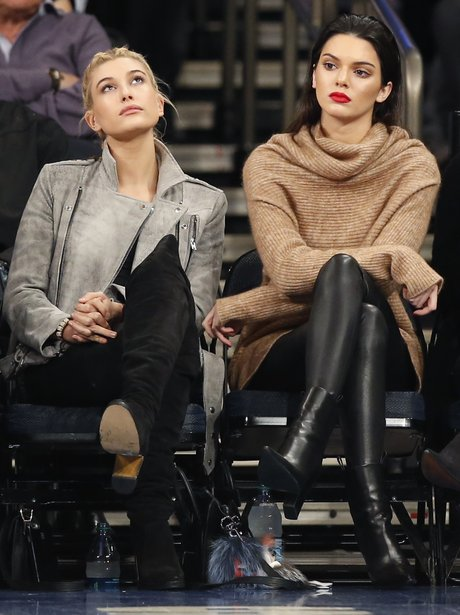 Kendall Jenner watching the basketball