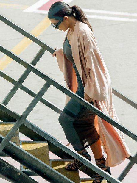 Kim Kardashian boarding a plane in Sydney