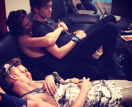 The Vamps hugging