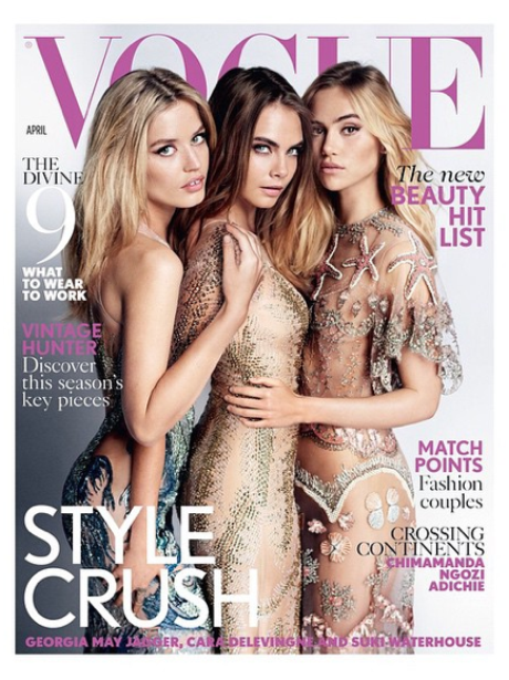 cara Delevingne, Georgia May Jagger and Suki Water