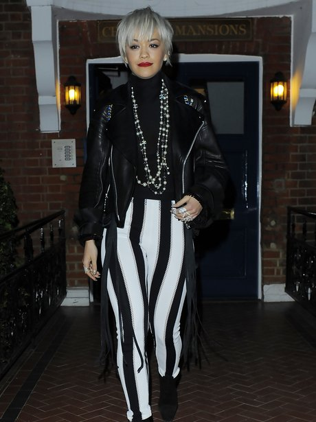 Rita Ora Stripey Trousers