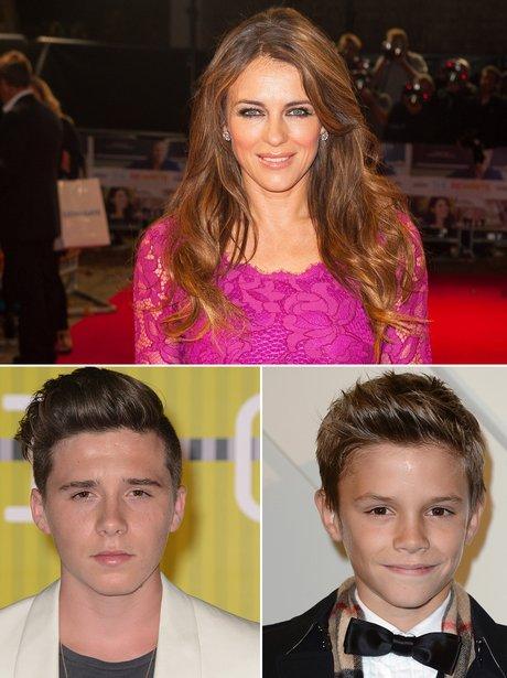 Liz Hurley and Beckham Boys