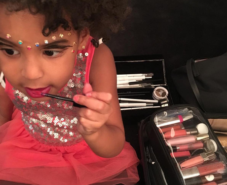 Blue Ivy plays with Beyonce's make up
