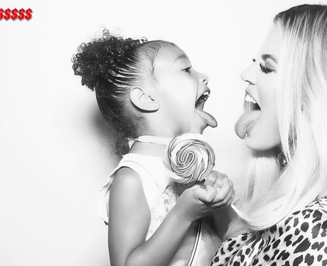 Khloe Kardashian and North West in Photo Booth at