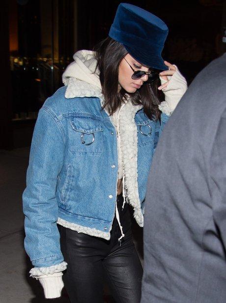 Kendall Jenner sports a unique blue velvet hat