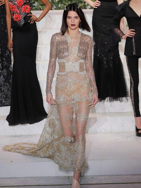 Kendall Jenner on the La Pearla catwalk
